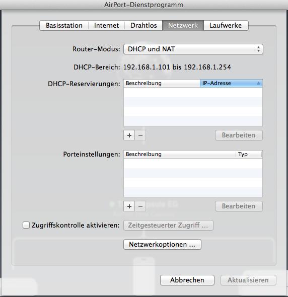 AirPort Timecapsule als Router konfigurieren.